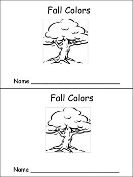 Fall Colors Emergent Reader Preschool or Kindergarten Color Words