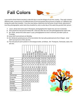 Fall Colors Logic Puzzle- Moderate Difficulty