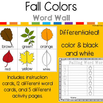 Fall Write the Room Word Work - Color Words