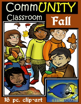 Fall CommUNITY Kids Clip-Art: 16 pc. BW/Color! 8 Characters!