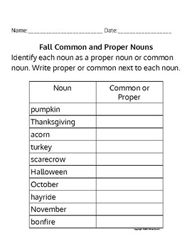 Fall Common and Proper Nouns