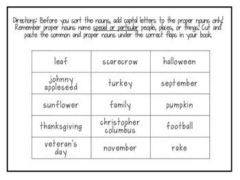 Fall Common and Proper Nouns Flip Flap Book