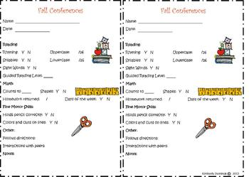 Fall Conference Form for Kindergarten