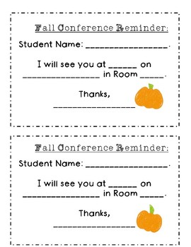 Fall Conference Reminder slip for Parents