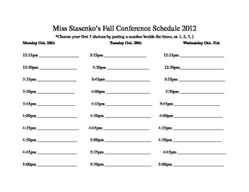 Fall Conference Schedule