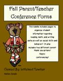 Fall Conferences Data Sheets (Pre-K- Kindergarten)