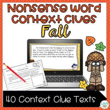 Nonsense Word Context Clues Worksheets and PowerPoint: Fall Edition