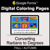 Fall: Converting Radians to Degrees - Digital Coloring Pag