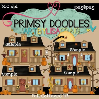 Fall Cottages 300 dpi Clipart