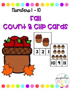 Fall Count & Clip Cards (Numbers 1-10)