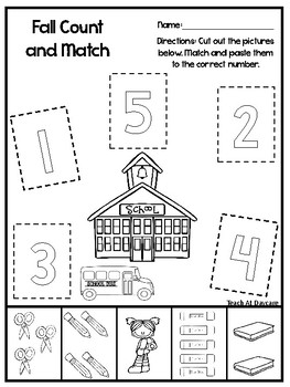 Fall Count and Match Printable Worksheets. Match the Picture to the Number.