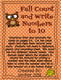 Fall Count and Write Numbers to Ten