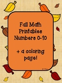 Fall Counting worksheets freebie 0-10