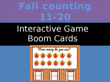 Fall Counting 11-20  Interactive Self Checking Task Cards