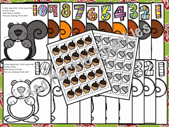 Fall Counting Activity with Squirrels and Acorns for Preschool