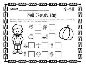 Fall Counting Cards 1-20