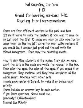 Fall Counting Centers numbers 1-10