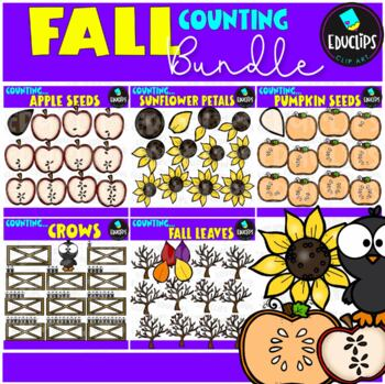 Fall Counting Clip Art Big Bundle {Educlips Clipart}