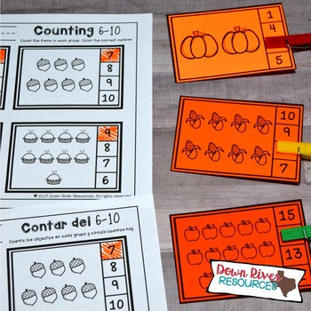 Fall Counting Clip Cards 1-20 | Kindergarten Math Centers | English & Spanish