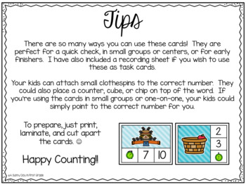 Fall Counting Clip Cards (or task cards!)