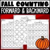 Fall Counting Forward and Backward Worksheets! Within 20, 100, & 120