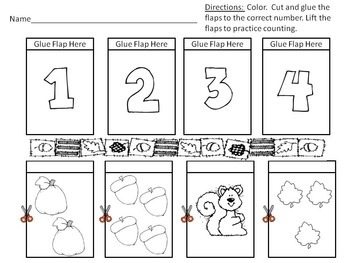 Fall Counting 1-10 Lift-The-Flap Worksheets by Fun Hands-on Learning