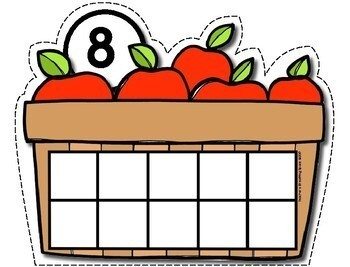 Fall Counting Mats 1-10 --- Apple Basket Counting Mats with Tens Frames