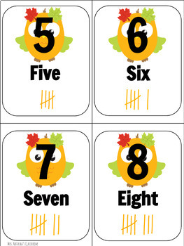 Fall Counting Number Cards