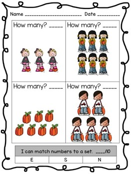 Fall Counting Numbers 1-10 Numbers to a Set