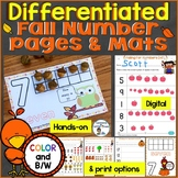 Fall Counting & Numbers Practice Pages & Mats (Differentia