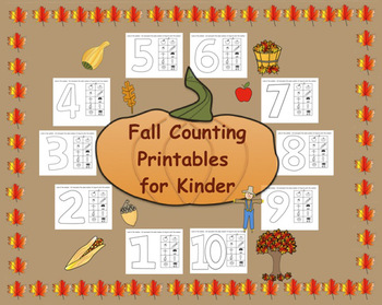 Fall Counting Printables for Kinder