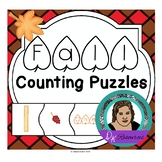 Fall Counting Puzzles 1 - 10 with Fall themed images, Numbers, and Number words