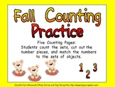 Fall Counting Sets Independent Practice for Kindergarten