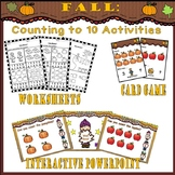 Fall Counting To 10 Activities