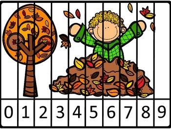 Fall Counting and Number Order Puzzles For Numbers 0 - 9