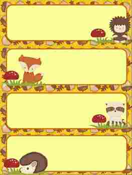 Fall Critter Desk/Cubby Labels and Name Plates