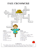 Fall Crossword Puzzle (Color and BW versions)