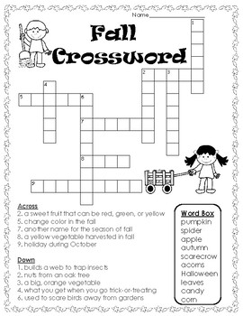 This is a picture of Slobbery Fall Crossword Puzzle Printable