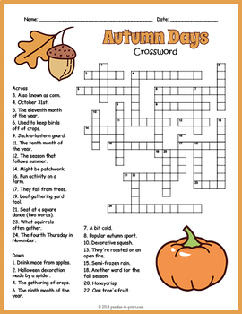 Fall Crossword Puzzle Worksheet - 4 Versions
