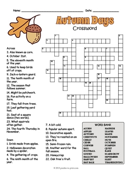graphic regarding Fill in Crossword Puzzles Printable named Tumble Crossword Puzzle Worksheet - 4 Models