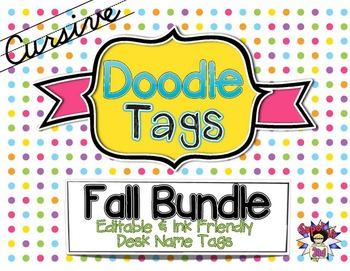 Fall Cursive Doodle Tags Bundle - Ink Friendly Editable Desk Name Tags