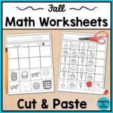 Fall Cut and Paste Math Worksheets for Special Education and Autism