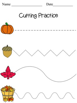 Fall Cutting and Writing Practice Sheets