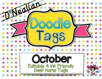 Fall D'Nealian Doodle Tags Bundle - Ink Friendly Editable Desk Name Tags