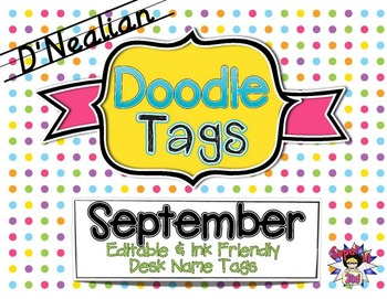 Fall D'Nealian Doodle Tags Bundle - Ink Friendly Editable Desk Name Tags