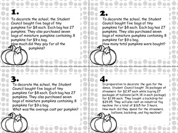 Fall Dance 16 Task Cards Multiplication and Division Story Problems