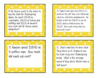 Fall Decimal Operation Task Cards
