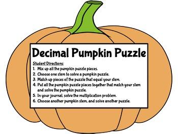 Fall Decimal Pumpkin Puzzle and Worksheet
