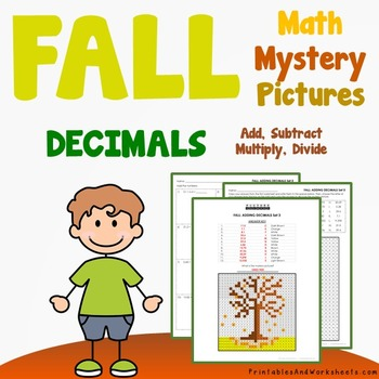 Add Subtract Divide Multiply Decimals Fall Decimal Operations Coloring Worksheet