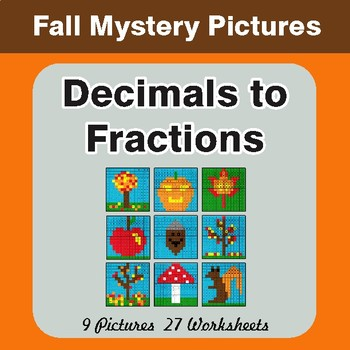 Fall: Decimals To Fractions - Color-By-Number Math Mystery Pictures